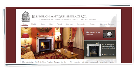 A screenshot of the Edinburgh Antique Fireplaces website