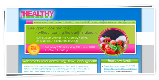 A screenshot of the Your Healthy Living website